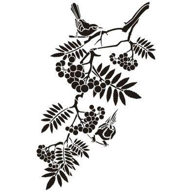 Трафарет Веточка рябины с птичками малая