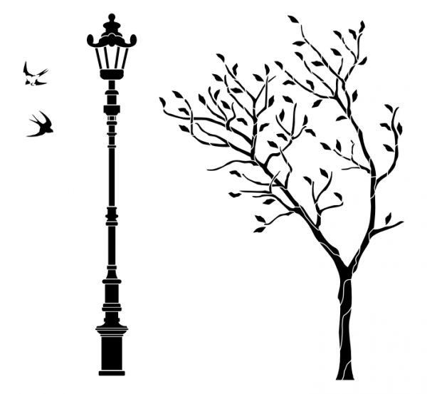 Трафареты дерева для стен своими руками
